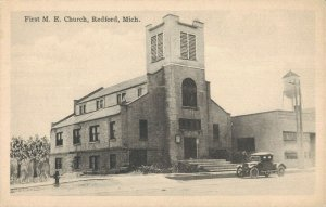 USA - First M.E Church Redford - Michigan With Oldtimer And Watertank 1918 04.09