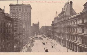 Birdseye View, Street View of Government Square, Classic Cars, Trolley Bus, C...