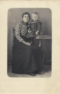 Vintage photo postcard woman & baby boy