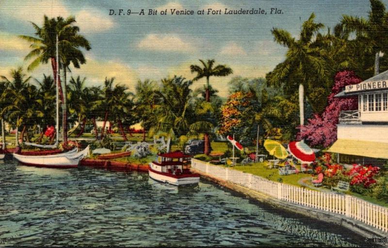 Florida Fort Lauderdale Canal Scene Curteich