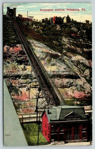 Pittsburgh PA~Duquesne Railway Incline~Inclined Plant Building at Bottom~1910 PC