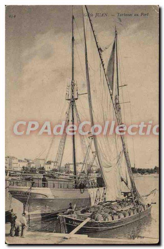Old Postcard Golfe Juan tartans Au Port