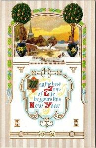 New Year, Vintage Postcard winter scene - tree - vintage - pc embossed unposted
