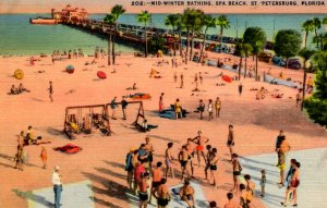 St. Petersburg,Florida - Mid-winter bathing at the Spa Beach - in the 1940s