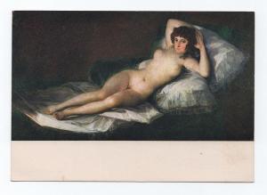 ART POSTCARD 1950s GOYA LA MAJA DESNUDA nudes nude woman SPAIN PRADO