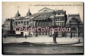 Postcard Old Saint Quentin Place de L'Hotel de Ville Theater
