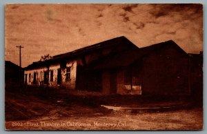 Postcard Monterey CA c1910s First Theatre in California Sepia