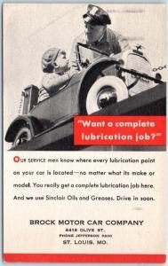 St Louis, Missouri Postcard BROCK MOTOR CAR COMPANY Service Reminder 1931 Cancel