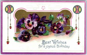 1910s Embossed Greetings Postcard Best Wishes for a Joyous Birthday UNUSED