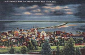 Minnesota Duluth Birds Eye View From Skyline Drive At Night Curteich