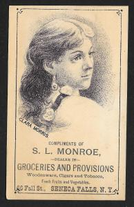 VICTORIAN TRADE CARD Monroe Grocery Lady in Profile Clara Morris