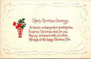 Art Deco HEARTY CHRISTMAS Greetings Stage HOLLY VASE VINTAGE Postcard