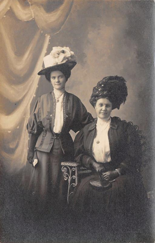 Superior WI~Beautiful Victorian Women in Outrageous Hats~Baker Studio~c1908 RPPC