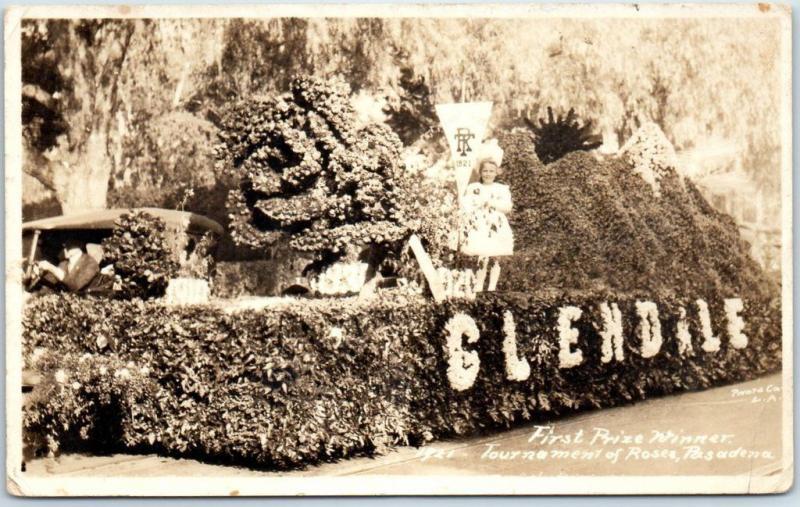 1921 Pasadena Tournament of Roses RPPC Real Photo Postcard Glendale City Float