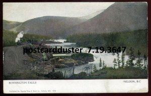 dc1854 - NELSON BC 1910s Bonnington Falls. Train by Warwick Bros.