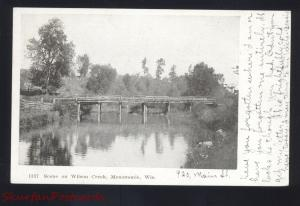 MENOMONIE WISCONSIN WILSON CREEK BRIDGE ANTIQUE VINTAGE POSTCARD