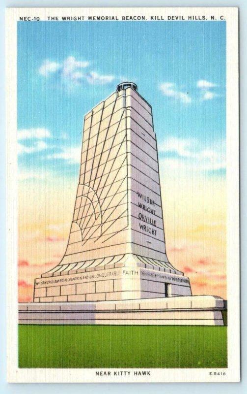 3 Postcards KILL DEVIL HILLS, NC ~ Night/Day WRIGHT MEMORIAL BEACON c1940s