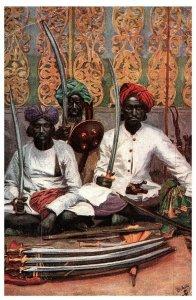 Hyderabad Bras Ventes Merchants Vendeurs & Épées 1931 Carte Postale Inde Expédié