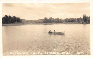 F10/ Lincoln Park Indiana RPPC Postcard c1930 Buckhorn Lake Boat