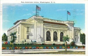 Pan-American Union Washington DC pm 1937 Postcard