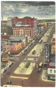 New Orleans LA Saenge & Loew's Movie Theatre Woolworth's Trolly Postcard