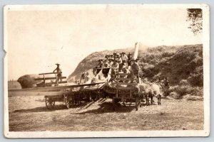 Real Photo Postcard~Farmers Threshing Hay~Pulley~Giant Hay Mound~c1915 RPPC