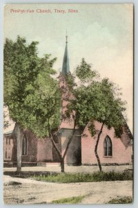 Tracy Minnesota~Presbyterian Church on Dirt Road~Handcolored 1911 Postcard