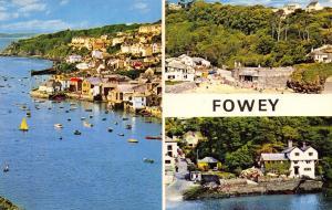 Vintage Postcard CORNWALL Fowey 3 split Multiview by NPO #B7211