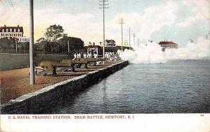 Newport Rhode Island~US Naval Training Station~Sham Battle~Sailors~Smoke~1905