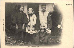 Tonkin Vietnam Native Family Tho Costume Postcard c1900 Publ Hanoi