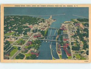 Unused Linen AERIAL VIEW Oswego New York NY A4752