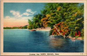 North Sebago Maine~Early Autumn Greetings Along the Lake Shore 1943 Linen PC