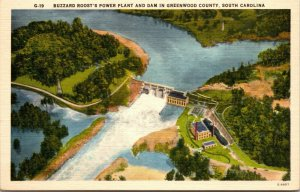 BUZZARD ROOST'S POWER PLANT AND DAM IN GREENWOOD, SC., POSTCARD
