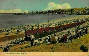 Swanage Bay Looking South Promenade Beach Panorama Postcard