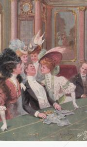 Man & 2 Girls at table , Gambling , 00-10s ; TUCK 937P