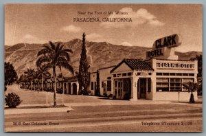 Postcard Pasadena CA c1930s Clark Motel Route 66 Defunct 3019 East Colorado St.