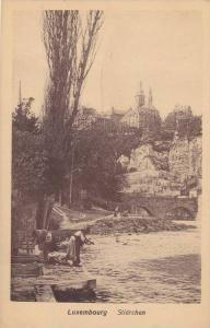 Bridge, Women Washing Clothes, Stierchen, Luxembourg, 1900-1910s