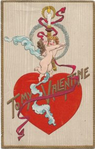 Valentine postcard Valentine's Day To my Valentine Angels Heart Embossed 03.59