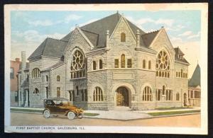 Postcard Unused First Baptist Church Galesburg IL LB