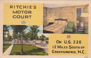 North Carolina Greensboro Ritchies Motor Court 1954 Albertype