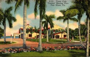 Florida Fort Myers Town Club Tourists' Meeting Place 1937 Curteich