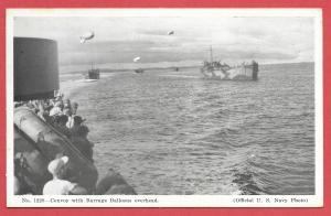 Naval Ships - #1229 - Convoy With Barrage Balloons Overhead