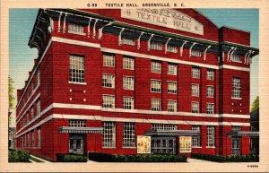 Greenville SC Textile Hall Postcard unused 1930s/40s