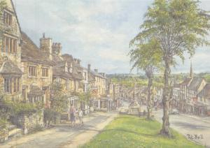 Postcard Art Burford, Oxfordshire, Cotswolds by Pat Bell Large 170x120mm