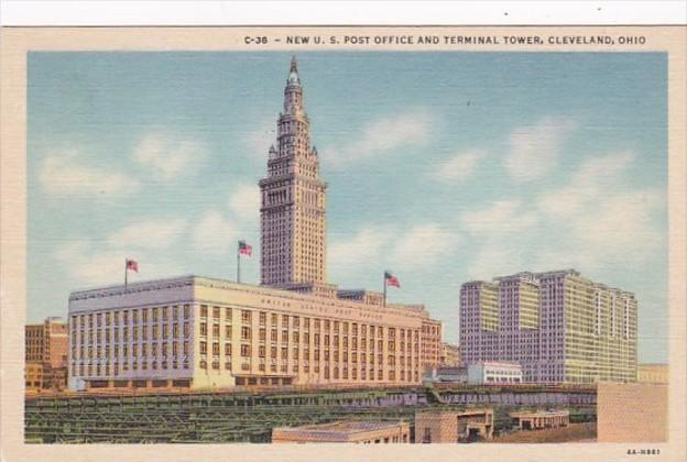 Ohio Cleveland Post Office and Terminal Tower Curteich