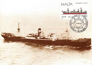 Postcard, Maltese Steam Ship Valetta City with Special Cancel 19 Nov 1986 49S