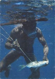 Fiji - Suva - Spear Fishing, providing the family dinner, underwater