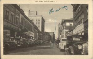 Woonsocket RI MaiN St. & Cars Postcard