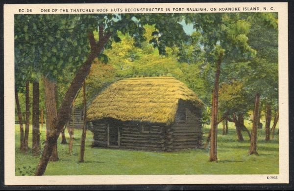 North Carolina colour PC Thatched Roof Hut Fort Raleigh Roanoke Island unused