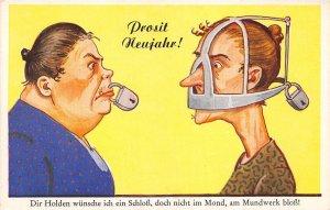 uk40940 prosit neujahr new year greetings germany bad mouth comic